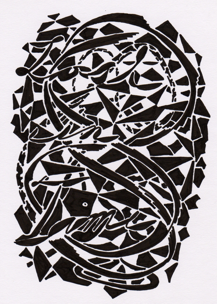 Karl Hofmann, 2012, Lost in Time, archival marker on paper, 8.5 x 11""