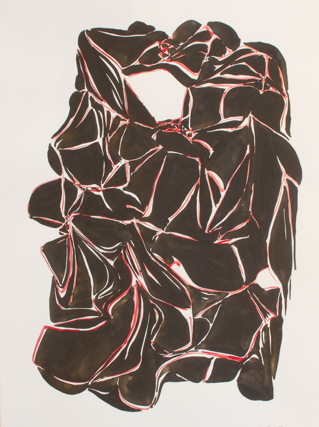 Karl Hofmann, Black Forms 3,  ink and gouache on paper, 2009