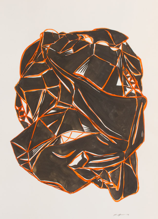 Karl Hofmann, Black Forms 2,  ink and gouache on paper, 2009
