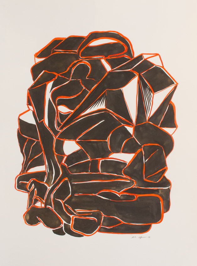 Karl Hofmann, Black Forms, ink and gouache on paper, 2009