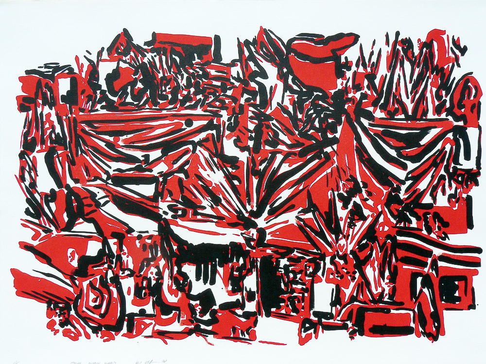 Karl Hofmann, Four More Wars, Lithograph, 2010