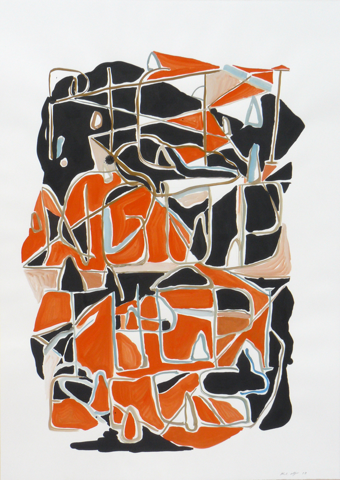 Karl Hofmann, Picking Up the Pieces, 2010, ink gouache on paper