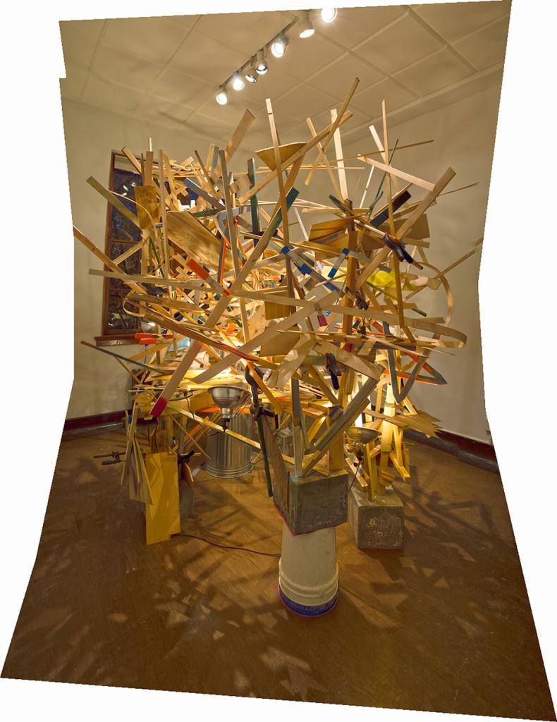 Karl Hofmann, A Second Life, 2014, wood, concrete, clamps, shop lights, dimensions variable, 11' x 9' x  10'