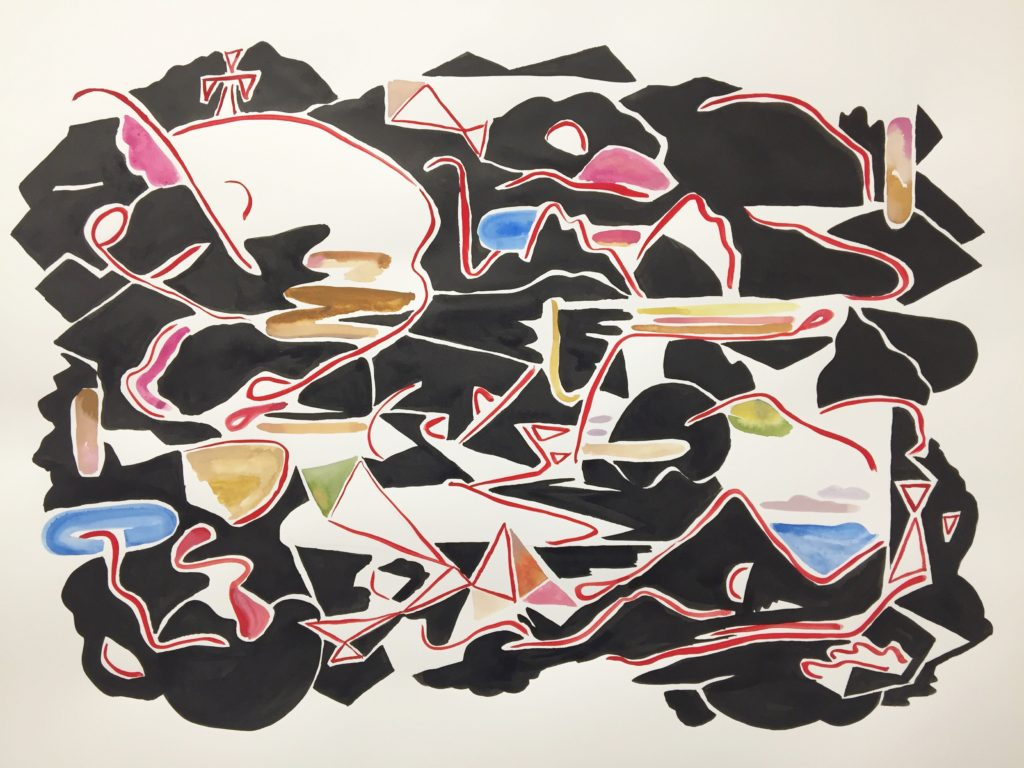 "Karl Hofmann, untitled, 2017, ink, gouache, watercolor on 140 lb hot pressed 22"" x 30"" paper"