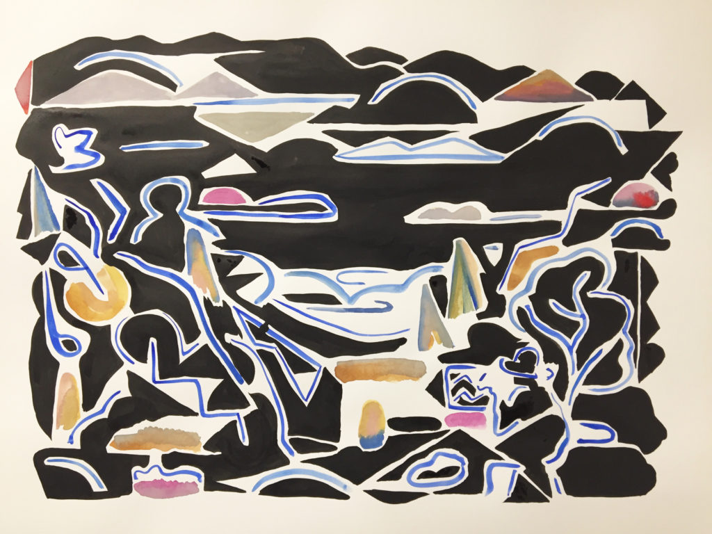"Karl Hofmann, untitled, 2017, ink, gouache, watercolor on 140 lb hot pressed 22"" x 30"" paper"